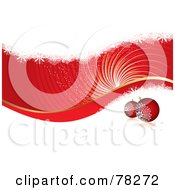 Red And White Christmas Swirl Background With Grunge And Baubles