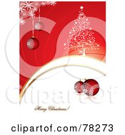 Royalty Free RF Clipart Illustration Of A Merry Christmas Greeting With Baubles Snowflakes And A Tree by MilsiArt