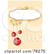 Royalty Free RF Clipart Illustration Of A Striped Background With A Snowflake Text Box And Red Christmas Ornaments by MilsiArt