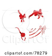 Royalty Free RF Clipart Illustration Of A Digital Collage Of Four White Christmas Gift Cards With Bow Corners