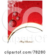 Royalty Free RF Clipart Illustration Of A Red Christmas Background With Snowflakes Baubles And A Merry Christmas Greeting by MilsiArt