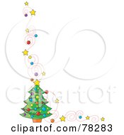 Royalty Free RF Clipart Illustration Of A Swirly Star And Christmas Tree Border On White