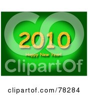 Royalty Free RF Clipart Illustration Of A Gradient Green Background With A Green 2010 Happy New Year Greeting