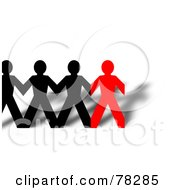 Royalty Free RF Clipart Illustration Of A Row Of Connected Black And Red Paper People And Shadows