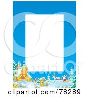 Royalty Free RF Clipart Illustration Of A Vertical White Text Box Bordered With Santa By A Winter Home