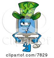 Desktop Computer Mascot Cartoon Character Wearing A Saint Patricks Day Hat With A Clover On It