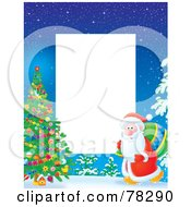 Royalty Free RF Clipart Illustration Of A White Vertical Text Box Bordered With Santa Walking Towards An Outdoor Christmas Tree