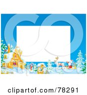 Royalty Free RF Clipart Illustration Of A White Text Box Bordered With Santa By A Winter Home