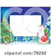 Royalty Free RF Clipart Illustration Of A White Horizontal Text Box Bordered With Santa Walking Towards An Outdoor Christmas Tree