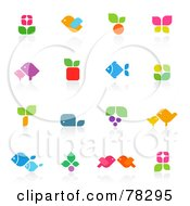 Royalty Free RF Clipart Illustration Of A Digital Collage Of Colorful Floral And Animal Logos With Reflections by elena #COLLC78295-0147