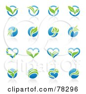Royalty Free RF Clipart Illustration Of A Digital Collage Of Blue And Green Organic Heart And Circle Logos With Reflections