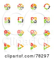 Royalty Free RF Clip Art Illustration Of A Digital Collage Of Red Orange Green And Black Puzzle And Arrow Logos With Reflections by elena #COLLC78297-0147