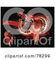 Royalty Free RF Clipart Illustration Of A Grungy Red Background Of Splatters Drips Speakers Wings Stars And Keyboards On Black by elena