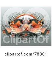 Royalty Free RF Clipart Illustration Of A Party Background Of Guitars Keyboards Albums Speakers Banners And A Winged Orange Disco Ball by elena