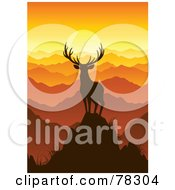 Royalty Free RF Clipart Illustration Of A Majestic Silhouetted Buck Deer On Top Of A Mountain Looking Out Onto Mountain Tops At Sunset