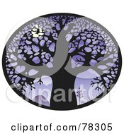Royalty Free RF Clipart Illustration Of An Oval Of A Large Bare Tree Silhouetted Against A Full Moon On Purple