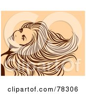 Royalty Free RF Clipart Illustration Of A Gorgeous Brown Sketched Woman With A Long Mane On Beige
