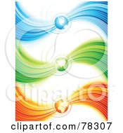 Royalty Free RF Clipart Illustration Of A Digital Collage Of Three Blue Green And Orange Wave Spiral Globe Website Headers by elena