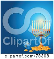 Royalty Free RF Clipart Illustration Of A Glowing Hanukkah Menorah With Gold Coins On A Blue Background by Pushkin