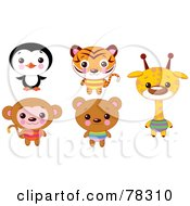 Digital Collage Of Cute Animals With Big Heads Penguin Tiger Monkey Bear And Giraffe