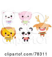 Digital Collage Of Cute Animals With Big Heads Polar Bear Pig Lion Panda And Rudolph