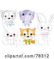 Digital Collage Of Cute Animals With Big Heads Wolf Hippo Seal Fox And Rabbit