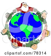 Royalty Free RF Clipart Illustration Of A Circle Of Diverse Elves With Santa And Mrs Claus Holding Hands And Looking Up