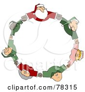 Circle Of Diverse Elves With Santa And Mrs Claus Holding Hands And Looking Up