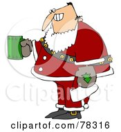 Royalty Free RF Clipart Illustration Of A Creepy Man Grinning Holding A Beverage And Wearing A Santa Suit