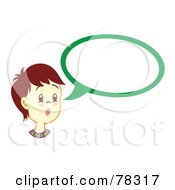 Royalty Free RF Clipart Illustration Of A Brunette Boy With A Green Word Balloon