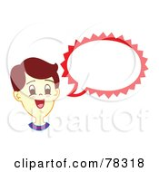 Royalty Free RF Clipart Illustration Of A Brunette Boy With A Red Word Balloon by Cherie Reve