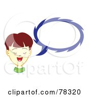 Royalty Free RF Clipart Illustration Of A Brunette Boy With A Blue Text Balloon by Cherie Reve
