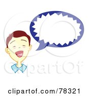 Royalty Free RF Clipart Illustration Of A Brunette Boy With A Blue Word Balloon by Cherie Reve
