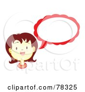Royalty Free RF Clipart Illustration Of A Brunette Girl With A Red Text Balloon by Cherie Reve