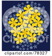 Royalty Free RF Clipart Illustration Of A Cluster Of Yellow Flowers And Snowflakes Over Blue by Cherie Reve