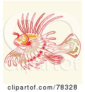 Royalty Free RF Clipart Illustration Of A Green Orange And Red Lionfish Design