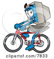 Clipart Picture Of A Desktop Computer Mascot Cartoon Character Riding A Bicycle by Toons4Biz