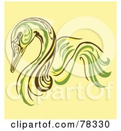 Elegant Green Yellow And Brown Swan Design