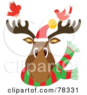 Royalty Free RF Clipart Illustration Of A Christmas Reindeer Head Wearing A Scarf And Santa Hat With Two Red Birds by Cherie Reve