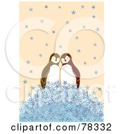 Royalty Free RF Clipart Illustration Of A Cute Penguin Couple On A Pile Of Snowflakes by Cherie Reve