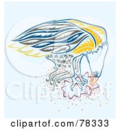 Royalty Free RF Clipart Illustration Of A Blue And Yellow Eagle Eating Prey by Cherie Reve