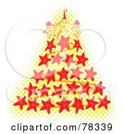 Royalty Free RF Clipart Illustration Of A Yellow Halftone Dot And Red Starfish Christmas Tree by Cherie Reve