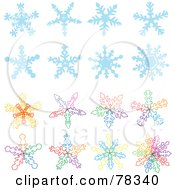 Royalty Free RF Clipart Illustration Of A Digital Collage Of Blue And Colorful Snowflake Designs by Cherie Reve