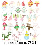Royalty Free RF Clipart Illustration Of A Digital Collage Of Santas Bells Presents Angels Stockings Candy Canes Gingerbread Men Rocking Horses Snowmen And Christmas Trees