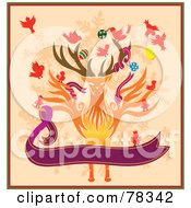 Royalty Free RF Clipart Illustration Of Birds Decorating A Christmas Reindeer With A Purple Banner On Orange by Cherie Reve