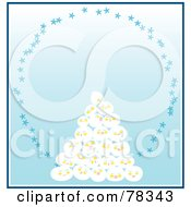 Royalty Free RF Clipart Illustration Of A Stack Of Snowballs With A Star Oval On Blue