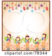 Royalty Free RF Clipart Illustration Of A Border Of Christmas Angels And Christmas Bulbs With Copyspace by Cherie Reve