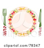 Royalty Free RF Clipart Illustration Of A Christmas Place Setting With A Fork Knife And Plate
