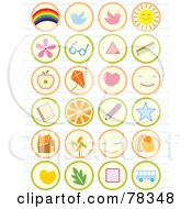 Royalty Free RF Clipart Illustration Of A Digital Collage Of Found School Icon Buttons On Lined Paper by Cherie Reve