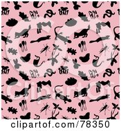 Repeat Pattern Background Of Silhouetted Nature Items And Animals On Pink